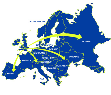 Map of european delivery areas